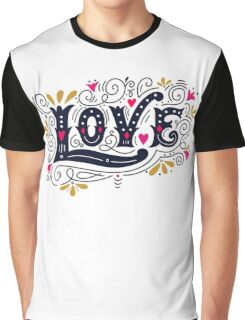 Floral love lettering Graphic T-Shirt