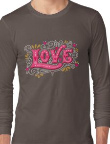 Floral love lettering Long Sleeve T-Shirt