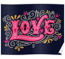 Floral love lettering Poster