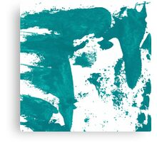 Artistic brush paint smears in sea green Canvas Print