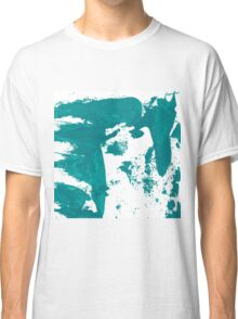 Artistic brush paint smears in sea green Classic T-Shirt