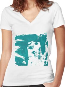 Artistic brush paint smears in sea green Women's Fitted V-Neck T-Shirt