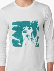 Artistic brush paint smears in sea green Long Sleeve T-Shirt