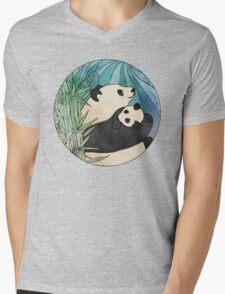 Panda Love Mens V-Neck T-Shirt