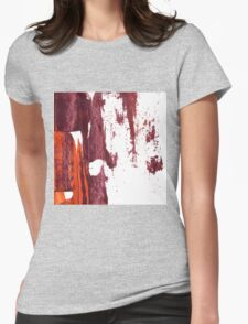 Artistic brush paint smears in deep violet red Womens Fitted T-Shirt