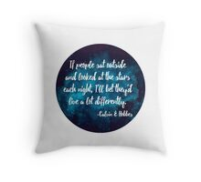 If people sat outside & looked at the stars // Blue Throw Pillow