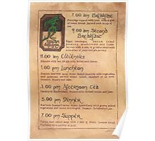 The Green Dragon Menu Poster