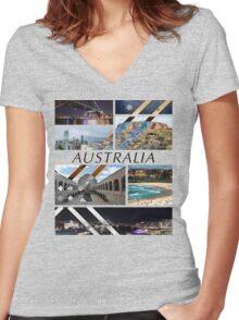 Australia T-Shirt Women's Fitted V-Neck T-Shirt
