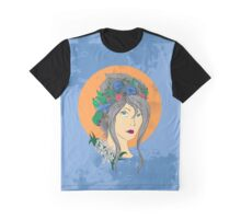 Orange Moon Flower Girl Graphic T-Shirt