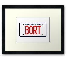 Bort License Plate – Itchy & Scratchy Land, Simpsons Framed Print