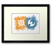 Pokemon Sun and Moon logos Framed Print