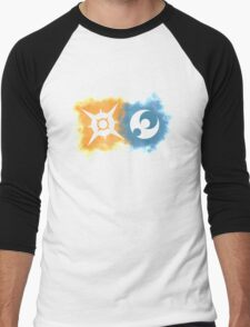 Pokemon Sun and Moon logos Men's Baseball ¾ T-Shirt