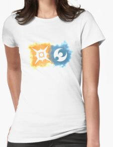 Pokemon Sun and Moon logos Womens Fitted T-Shirt