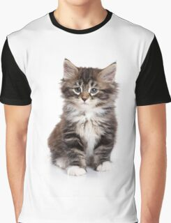 Fluffy sad kitten Siberian cat Graphic T-Shirt