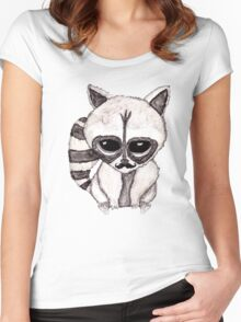 Adorable Watercolor Raccoon with Painted Mustache Women's Fitted Scoop T-Shirt