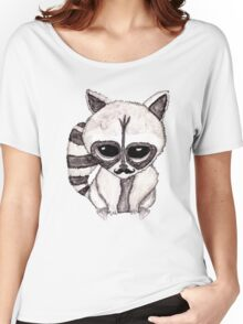 Adorable Watercolor Raccoon with Painted Mustache Women's Relaxed Fit T-Shirt