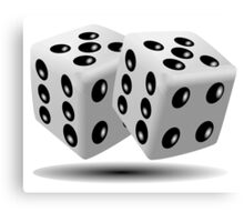LUCKY, DOUBLE FIVE, DICE, RED DICE, Throw the Dice, Casino, Game, Gamble, CRAPS, BLACK & WHITE Canvas Print