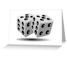 LUCKY, DOUBLE FIVE, DICE, RED DICE, Throw the Dice, Casino, Game, Gamble, CRAPS, BLACK & WHITE Greeting Card