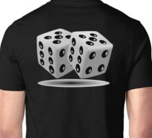 LUCKY, DOUBLE FIVE, DICE, RED DICE, Throw the Dice, Casino, Game, Gamble, CRAPS, BLACK & WHITE Unisex T-Shirt