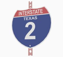 Interstate highway 2 road sign in Texas One Piece - Long Sleeve