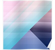 Modern Geometric Pink Blue Gradient Color Blocks Poster