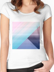 Modern Geometric Pink Blue Gradient Color Blocks Women's Fitted Scoop T-Shirt