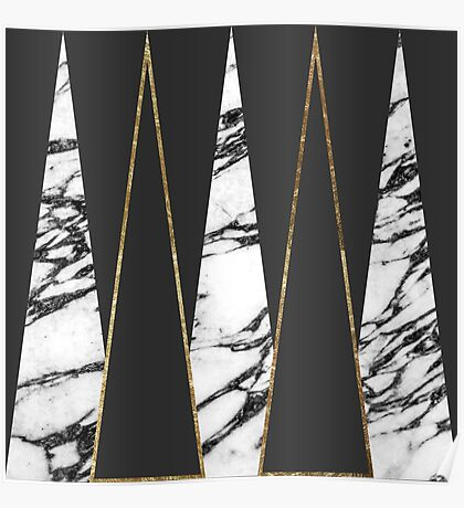 Long Modern Marble Black and Gold Triangles Poster