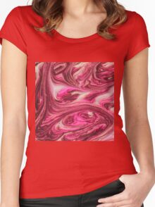 Pink Artistic Swirly Girly Painted Liquid Marble Women's Fitted Scoop T-Shirt