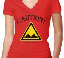 CAUTION!   ADULT CONTENT! Women's Fitted V-Neck T-Shirt