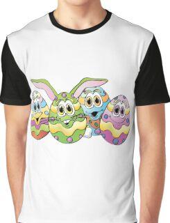 Easter Eggs Cartoon Graphic T-Shirt