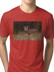 On the hunt - White-tailed Buck Tri-blend T-Shirt