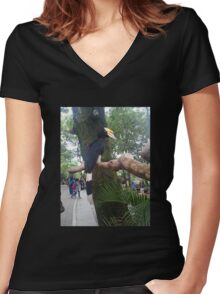 rare bird in Gembiraloka Zoo Women's Fitted V-Neck T-Shirt