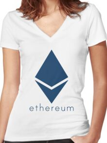 Ethereum Blue (Flat) Women's Fitted V-Neck T-Shirt