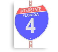 Interstate highway 4 road sign in Florida Canvas Print