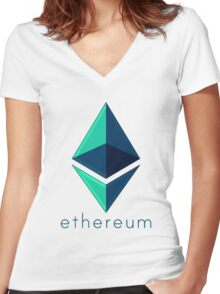 Ethereum metalic green  Women's Fitted V-Neck T-Shirt