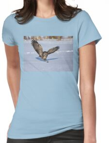 Great Grey owl catches a mouse Womens Fitted T-Shirt