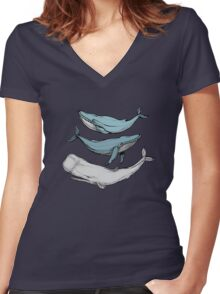 Three hand-drawn whales-friends Women's Fitted V-Neck T-Shirt