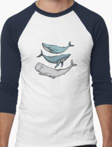 Three hand-drawn whales-friends Men's Baseball ¾ T-Shirt