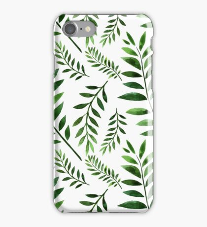 Watercolor Seamless pattern with green branches. iPhone Case/Skin