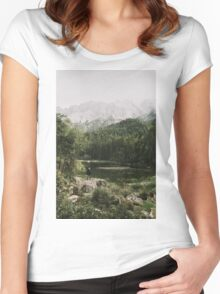 In Silence - Landscape Photography Women's Fitted Scoop T-Shirt