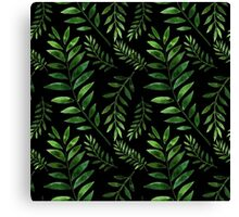 Watercolor Seamless pattern with green branches. Canvas Print