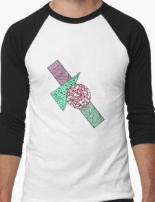 Hand Drawn Pink Teal Black White Geometric Shapes Men's Baseball ¾ T-Shirt