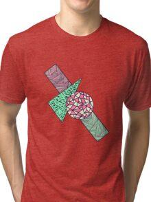 Hand Drawn Pink Teal Black White Geometric Shapes Tri-blend T-Shirt