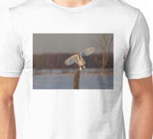 Snowy Owl taking off Unisex T-Shirt
