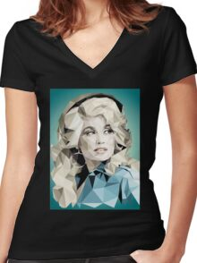 Dolly Parton Pixel Art Women's Fitted V-Neck T-Shirt