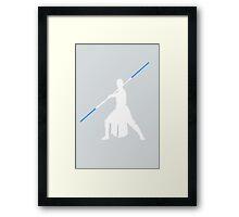 Star Wars - Rey blue lightsaber (white) Framed Print