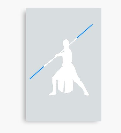 Star Wars - Rey blue lightsaber (white) Canvas Print