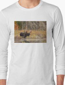 Smiling Moose, Algonquin park Long Sleeve T-Shirt