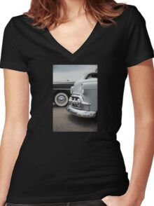 Grey Suede Women's Fitted V-Neck T-Shirt
