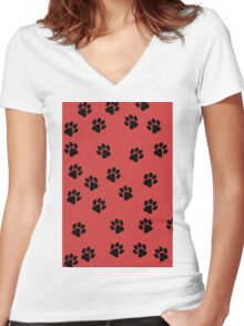 Paw Prints Women's Fitted V-Neck T-Shirt